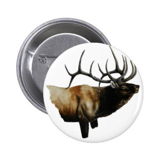 Bull Elk Painting on customizable products 6 Cm Round Badge