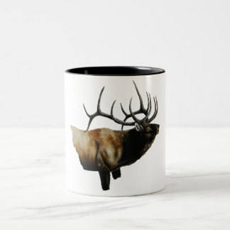 Bull Elk Painting on customizable products Two-Tone Coffee Mug