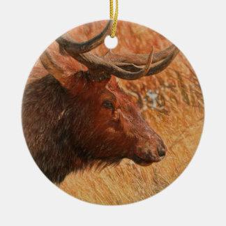 Bull Elk Round Ceramic Decoration