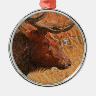 Bull Elk Silver-Colored Round Decoration