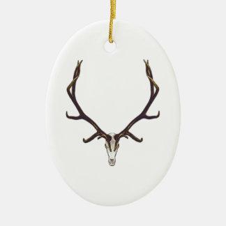 Bull elk skull color ceramic ornament