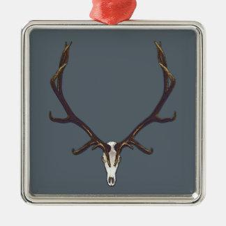 Bull elk skull color metal ornament