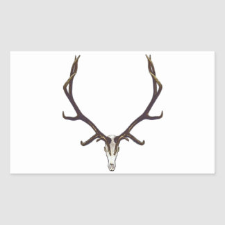 Bull elk skull color rectangular sticker
