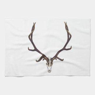 Bull elk skull color tea towel