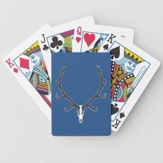 Bull elk skull European mount, bw Bicycle Playing Cards
