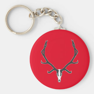 Bull elk skull European mount, bw Key Ring
