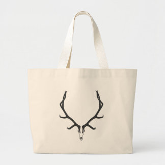 Bull elk skull European mount, bw Large Tote Bag