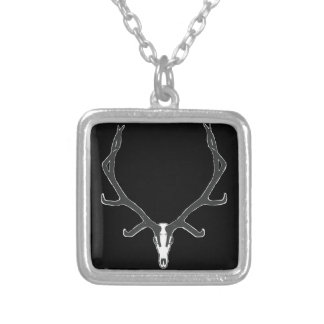 Bull elk skull European mount, bw Silver Plated Necklace