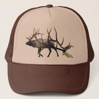 Bull elk skull side view trucker hat