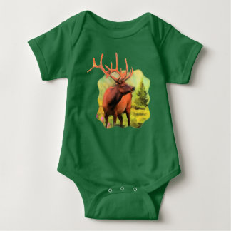 Bull Elk Wildlife Baby Bodysuit
