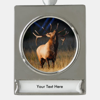 Bull Elk with Head Back Silver Plated Banner Ornament