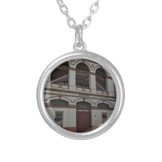 Bull fighting ring silver plated necklace