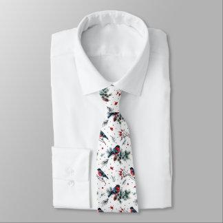 Bull-finch & Christmas Foliage Pattern Tie