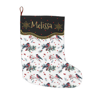 Bull-finch & Red Christmas Berries Pattern Large Christmas Stocking