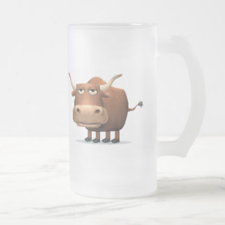 Bull Frosted Glass Beer Mug