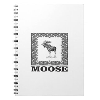 bull moose in a frame spiral notebook