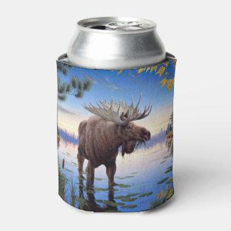 Bull Moose Mountain River Scene Can Cooler