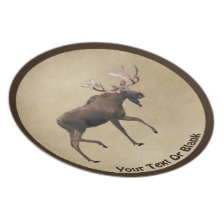 Bull Moose On Old Paper Plate