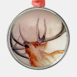 BULL OF THE WOODS STRENGTH ELK Silver-Colored ROUND DECORATION