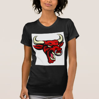 Bull Red Mean Animal Mascot T-Shirt