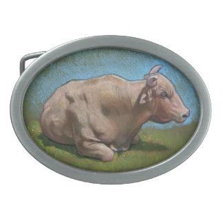 Bull Resting: Original Color Pencil Drawing Oval Belt Buckle