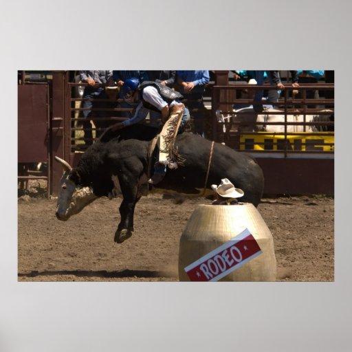 Bull rider hangs on for dear life poster