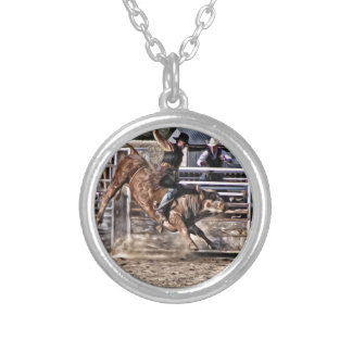 Bull Rider Rodeo Professional Silver Plated Necklace
