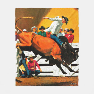 Bull Riding by Fred Ludekens Fleece Blanket