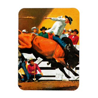 Bull Riding by Fred Ludekens Rectangular Photo Magnet