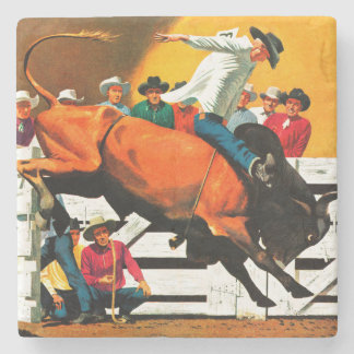 Bull Riding by Fred Ludekens Stone Beverage Coaster