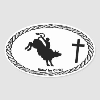 Bull Riding Cross Euro Style Oval Sticker