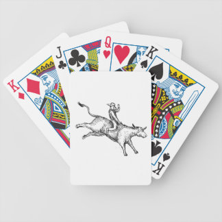 Bull Riding Rodeo Cowboy Drawing Bicycle Playing Cards
