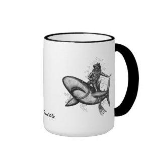 Bull shark riding pen ink drawing art mug