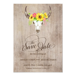 Bull Skull Save the Date Card
