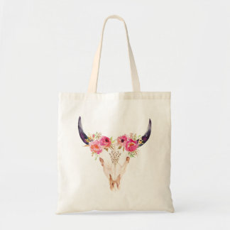 Bull Skull with Pink Flowers Tote Bag