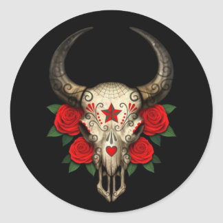 Bull Sugar Skull with Red Roses on Black Stickers