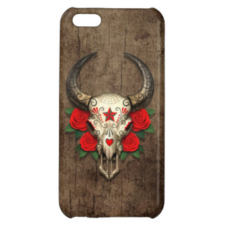 Bull Sugar Skull with Red Roses on Wood Graphic iPhone 5C Cover