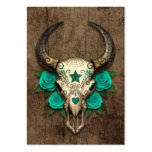 Bull Sugar Skull with Teal Roses on Wood Graphic
