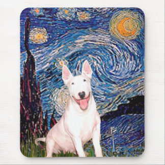 Bull Terrier 4 - Starry Night (Vert) - Customized Mouse Pad