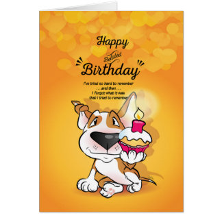 "Bull Terrier Cartoon Card ""Happy Belated Birthday"""