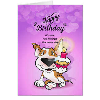 "Bull Terrier Cartoon Card ""Happy Birthday"""