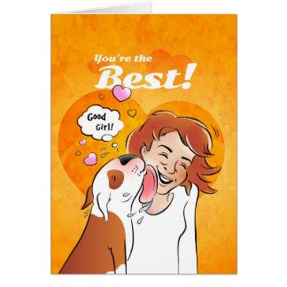 "Bull Terrier Cartoon Card ""You're the best"""