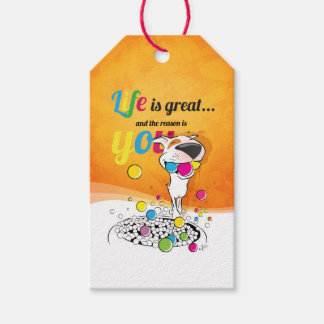 "Bull Terrier Cartoon gift tag ""Life is great ..."""