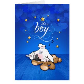 "Bull Terrier Cartoon Greeting Card ""It's a boy"""