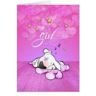 "Bull Terrier Cartoon Greeting Card ""It's a girl"""