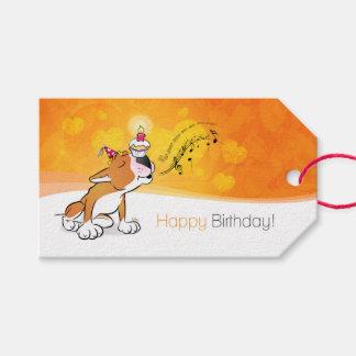 "Bull Terrier Cartoon ""Happy Birthday"" Gift Tag"
