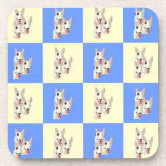 Bull Terrier Checkered Coaster Set