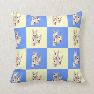 Bull Terrier Checkered Throw Pillow