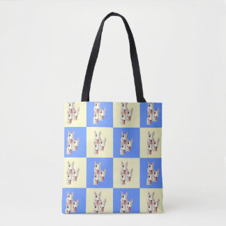 Bull Terrier Checkered Tote
