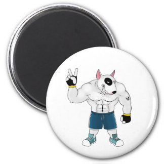 bull terrier dog  fight 6 cm round magnet